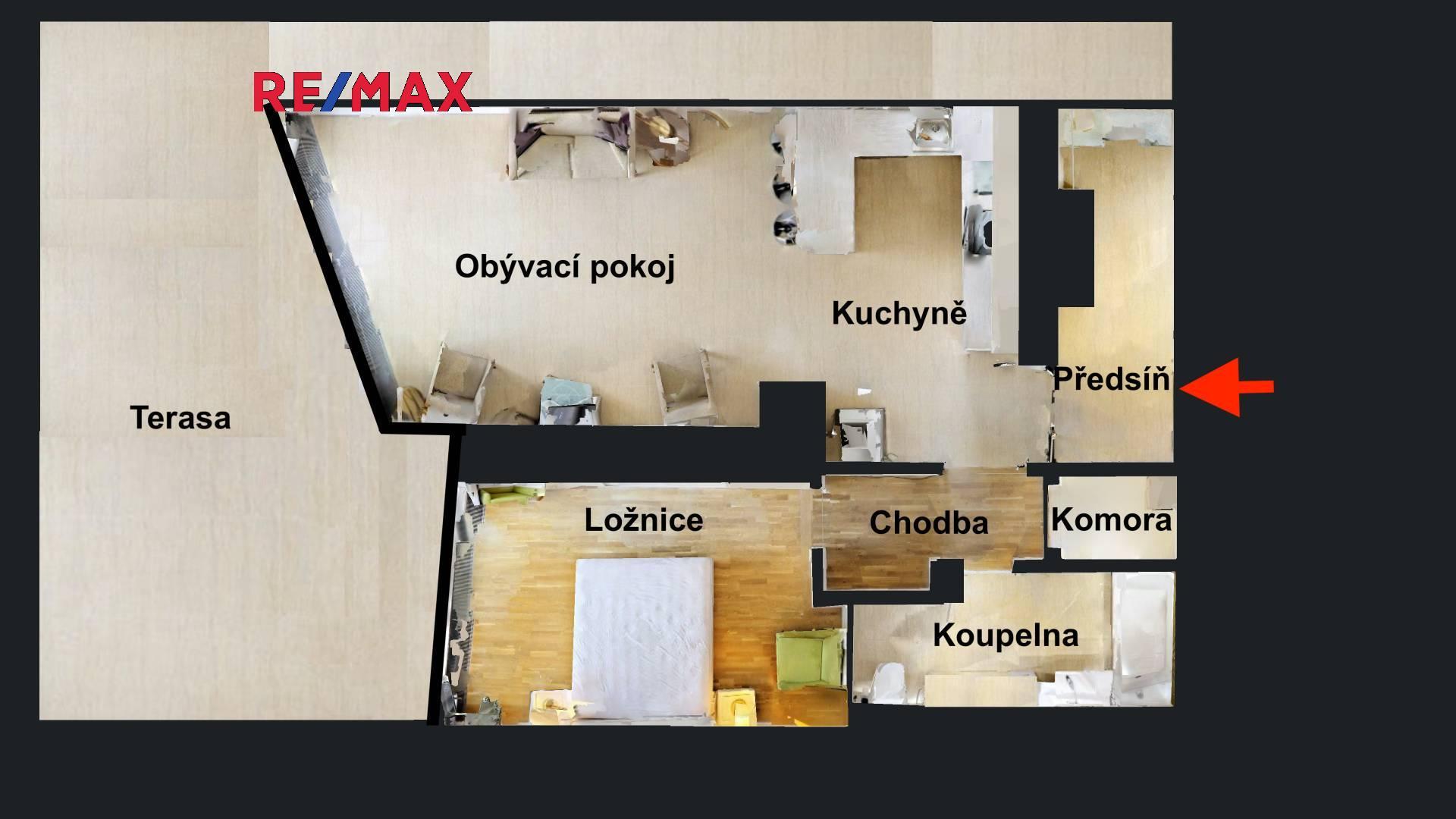 Luxusní 2+kk s terasou v domě s recepcí, P4-Pražského Povstání