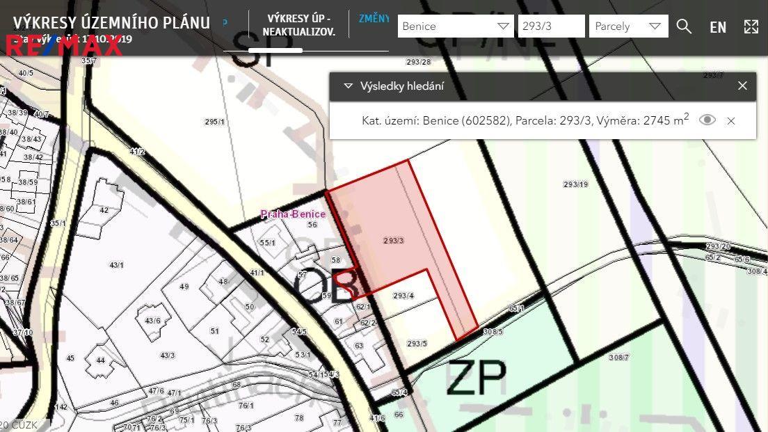 Prodej komerčního pozemku 2745 m2 v Praze Benicích